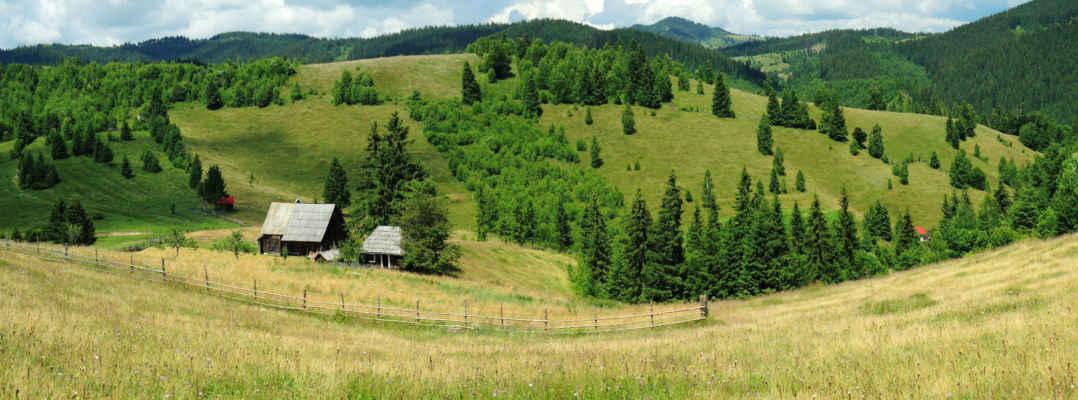 Hospodářství na sedle Alagut. Za sedlem se hory už zvedají a rozkvetlých luk ubývá.