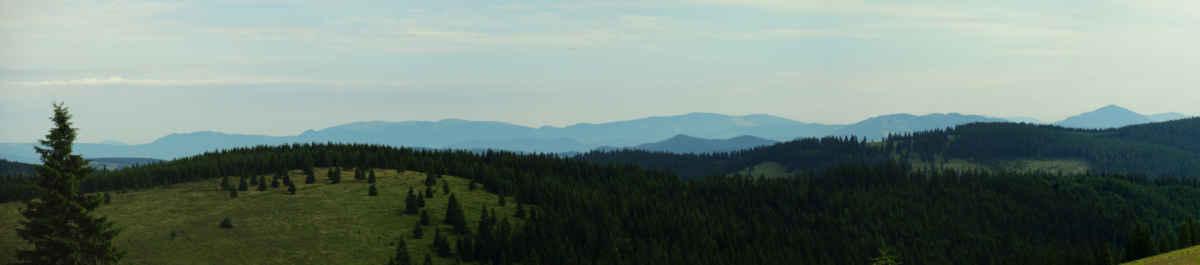 Na severním obzoru je pohoří Caliman, napravo jižní hřeben hor Bistriţei