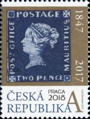 motiv legendární známky MODRÝ MAURITIUS v grafickém podání na zlatém pozadí Červený a modrý Mauritius Post Office jsou mezi veřejností patrně bezesporu těmi nejznámějšími známkami světa. Na světě existuje jen 12 exemplářů modré varianty (2 pence) a 14 červených (1 penny). Vydány byly 20. 9 1847 na ostrově Mauricius; každá po 500 kusech. Hodnotnější verzi určuje především nápis POST OFFICE.