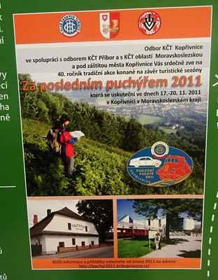 Výstava o historii KČT - Na jednom z panelů byla i vzpomínka na 40. ročník pochodu Za posledním puchýřek, který oraganizoval náš odbor v r. 2011.