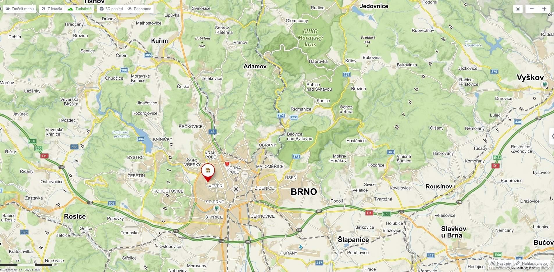 Mapa našeho výletu do okolí Brna