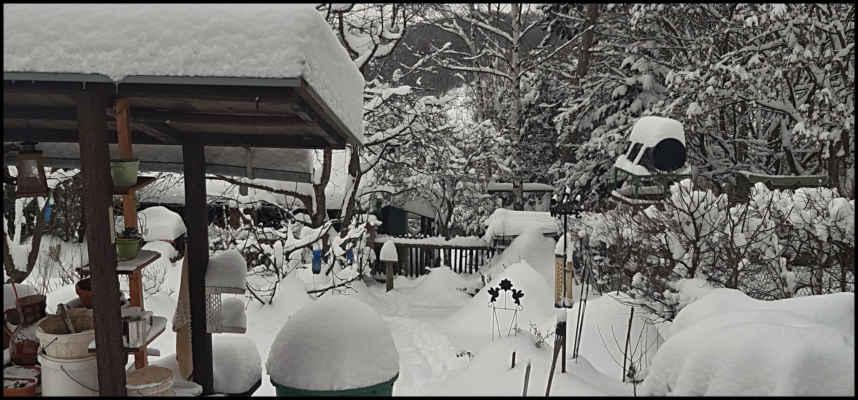 Středohoří - Únorová nadílka na chatě,od soboty připadlo přes 30 cm sněhu..