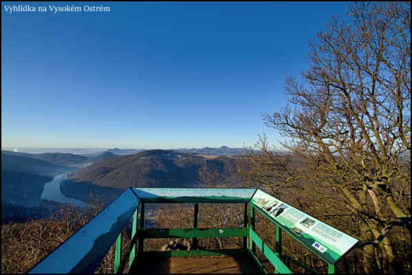Středohoří - Vyhlídka na Vysokém Ostrém,více než 400 metrů nad dnem údolí,nabízí krásné pohledy do krajiny..